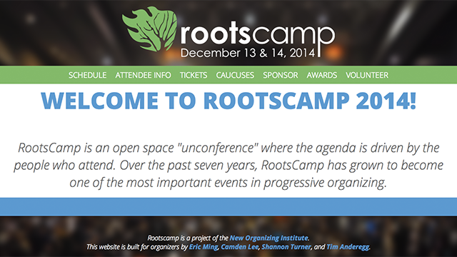 Rootscamp, an annual unconference for progressive organizers